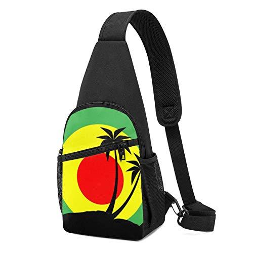JHUIK Emblema de reggae con riñonera negra Pulms Riñonera liviana para el pecho Riñonera duradera para hombres y niños Mochila bandolera resistente a la decoloración para ciclismo de uso diario