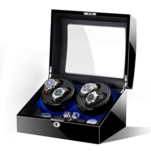 zyy Bobinadora de reloj automática clásica para 4+6 relojes, 5 modos de roating, almohada suave y motor de silencio, caja de almacenamiento para reloj mecánico (color negro)