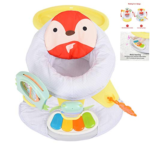 Erwazi Baby Jumpers and Bouncers, 2-in-1 Baby Bouncer Baby Jumper Baby Activity Center Doorway Jumper Baby Seat Door Jumper Dinner Game Tray Rotating Music with Piano Pedal (Multicolor A)