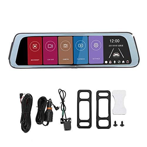 Hlyjoon Dual Lens Mirror Dash Cam, HD 1080P Car DVR Dash Camera 10 pulgadas Pantalla táctil grande Video Driving Recorder Parking Monitor, grabación en bucle, detección de movimiento, visión nocturna