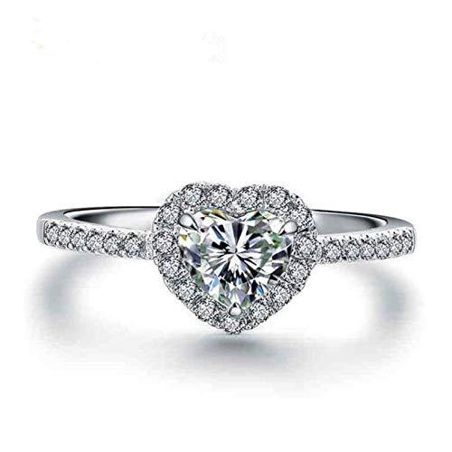 WFZ17 Anillo de compromiso en forma de corazón con diamantes de imitación incrustados para boda multi