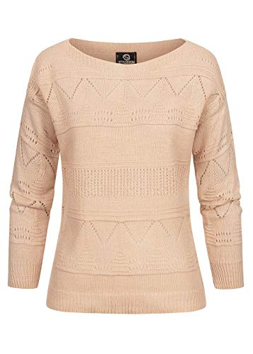 Styleboom Fashion® Damen U-Boot Strickpullover mit Lochmuster burlwood pink
