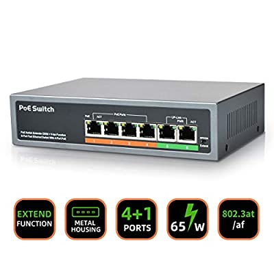 [2020 Newest] 6 Port PoE Switch, 4 Ports PoE+ S...