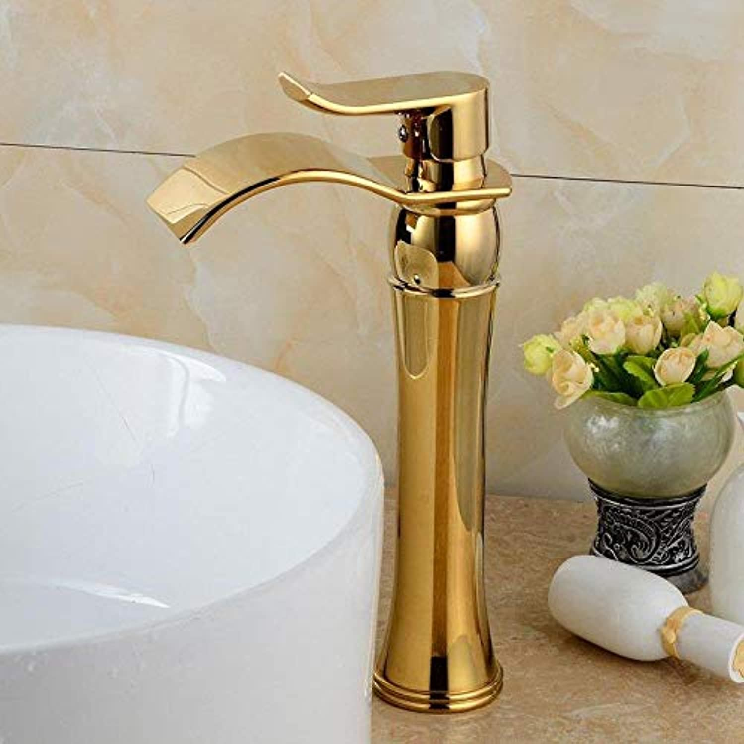Taps Faucet Bathroom Faucet Hot and Cold Washbasin Faucet Waterfall Lifted gold-Plated Mixed Water Faucet