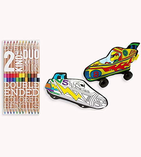 OOLY, 2 of A Kind Colored Pencils and Colorable Balloons Bundle Pack - Radical Race Cars, 12 Double-Ended Colored Pencils