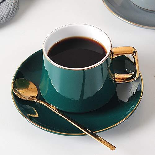 JIUJ Tassen Tassen mit Unterteller Basic für Tee Kaffee Cappuccino für 1 Personen Europäisches Keramik Gold Continental Cup Set Grün 250ml
