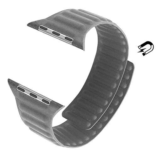 MaKer LederarmBand mit Schlaufe mit Magnetverschluss Kompatibel mit Apple Watch Series 5/4/3/2/1 (44mm/42mm,Grau)