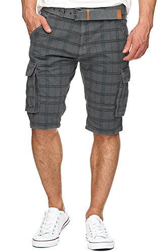 Indicode Herren Monroe Check Cargo Shorts kariert mit 6 Taschen inkl. Gürtel aus 100% Baumwolle | Kurze Hose Bermuda Sommer Herrenshorts Short Men Pants Cargohose kurz f. Männer Raven L