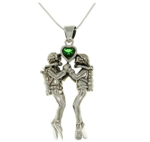 Jewelry Trends Scuba Divers Green Heart Sterling Silver Pendant Necklace 18'