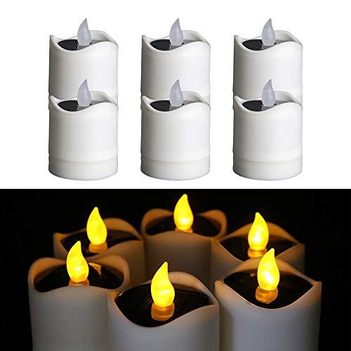 TINYOUTH 6 Stück Solar Kerzenlicht Aussen Gelb Licht, Flammenlose Solar Kerzenlichter Garten, Wasserdichte LED Kerzen Teelichter für Außen Garten Hof Weg Balkon Hochzeit Party Wohnkultur