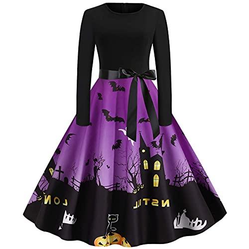 Damen Halloween Langarm O-Ausschnitt Druck Vintage Kleid Partykleid Qmber Halloween Kostüm Cosplay Frauen Halloween Print Langarm 50er Jahre...
