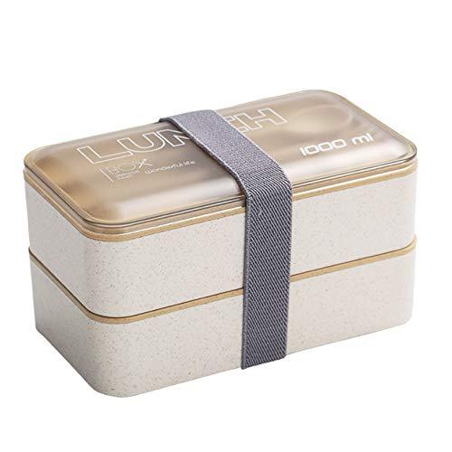 AIYIFU Fiambrera, Bento Box a Prueba de Fugas para Niños y Adultos, Recipiente de Comida con Doble Capa, Sin BPA, Recipientes de Preparación de Comidas Aptos para Microondas y Lavavajillas,