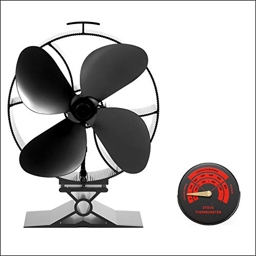Kaminventilator 4 Blätter Kamin Ofen Ventilator, CRSURE SF-354 Stromloser Feuerstelle Kaminöfen Wärmebetriebener Ofenventilator Große Räume für Kaminofen Holzöfen Umweltfreundlich ohne Strom