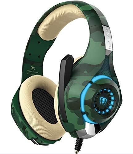 GM-100 Stereo Gaming Auriculares con micrófono para Mac Nintendo Switch PS4, PC, Xbox One Controller, cancelación de Ruido Sobre el oído Auriculares con micrófono luz LED