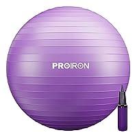 PROIRON バランスボール 55cm パープル ハンドポンプ付き