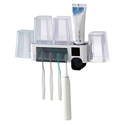 XWX Esterilizador de cepillo de dientes de esterilización ultravioleta sin enchufar tapa de enjuague bucal eléctrico, soporte de pared inteligente eléctrico
