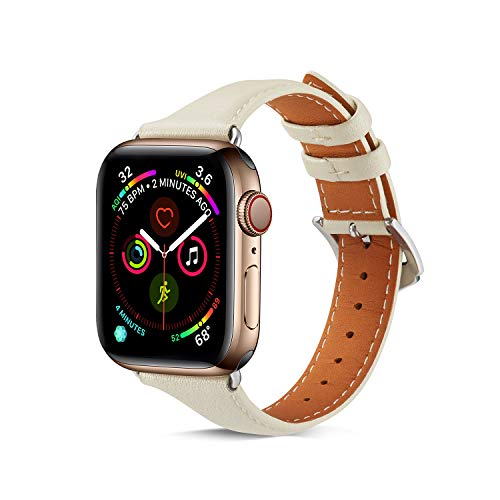 Pulseiras de couro genuíno compatíveis com Apple Watch 44 mm SE/Series 6 5 4, pulseira de substituição de couro macio genuíno ZERMU para iWatch SE Series 6 5 4