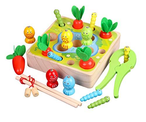 Yx-outdoor Juguete de Juego de Pesca de Madera Montessori, ejercite la cognición Espacial y de...