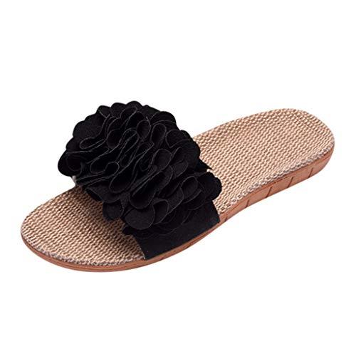 TUDUZ Zapatos De Playa Planos para Mujer Bohemias Pantuflas Lino Bowknot Playa Sandalias (Negro.f, 37-38)