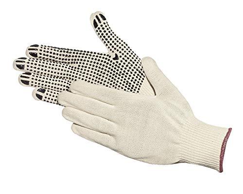 Jah 5010 Baumwoll-Strickhandschuh 12 Paar Noppen leicht natur Gr. 10