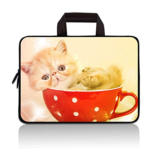 11' 11.6' 12' 12.1' 12.5' inch Laptop Carrying Bag Chromebook Case Notebook Ultrabook Bag Tablet Cover Neoprene Sleeve Fit Apple MacBook Air Samsung Google Acer HP DELL Lenovo Asus(Cute Cat)