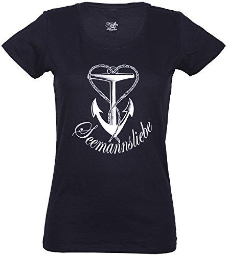 Küstenluder Damen Oberteil Seemannsliebe Anker Shirt Schwarz XS