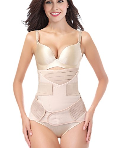 DICOOL 3 in 1 Postpartum Belly Wrap Support Recovery Band Waist Belts Shapewear Girdles Nude