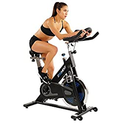 efitment belt drive lcd monitor indoor cycle peloton digital app spin bike alternative