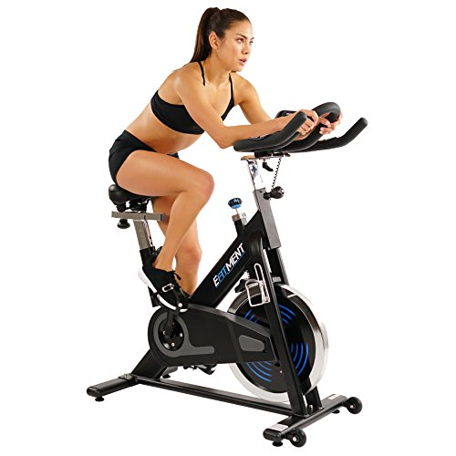 indoor cycles EFITMENT Indoor Cycle Bike, Magnetic Cycling Trainer Stationary Exercise Bike w/ 40 lb Chromed Flywheel, Belt Drive and LCD Monitor with Ipad/Tablet Holder- IC031