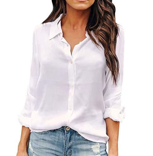 OMSJ White Linen Shirts Women Chiffon Casual Button Down Long Sleeve Blouses (L, White)