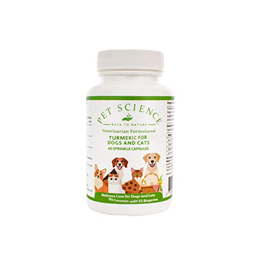 Pet Science Turmeric for Dogs and Cats, 95% Curcumin, Wellness for Pets (60 Capsules)