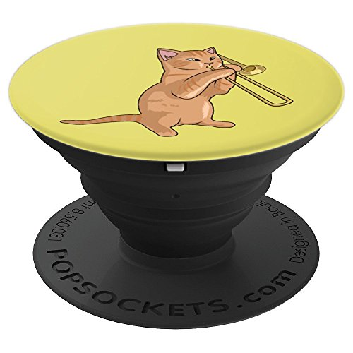 Silly Cat Playing The Trombone For Brass Players Yellow PopSockets Grip and Stand for Phones and Tablets