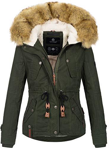 Navahoo warme Damen Designer Winter Jacke Winterjacke mit Kapuze und Teddyfell B643 [B643-Pearl-Grün-Gr.S]