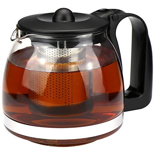 com-four® Teiera, brocca in vetro resistente al calore con inserto in acciaio inossidabile (01 pezzi - teiera da 1,1 litri)
