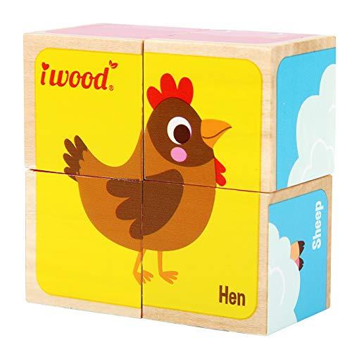 iWood-La Ferme puzzel 4 kubus van hout, 11011