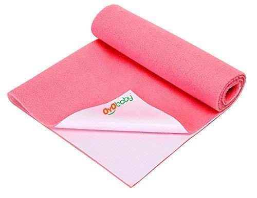 OYO BABY - Quickly Dry Sheet / Cot Mattress Protector Mat / Crib Sheets (200 cm X 140cm, X-Large) - Salmon Rose