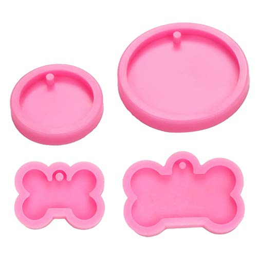 Mengmengda 4Pcs Silicone Bone Round Butterfly Shape Pendant Resin Mold Kit Dog Tag Keychain Resin Casting Mold Resin Crafting Tools