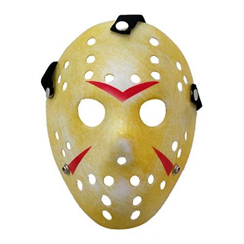 Amycute Máscara de Jason de Amarillo, Cosplay Disfraz Viernes 13 Máscara de Fiesta de Halloween para Niños, Adultos