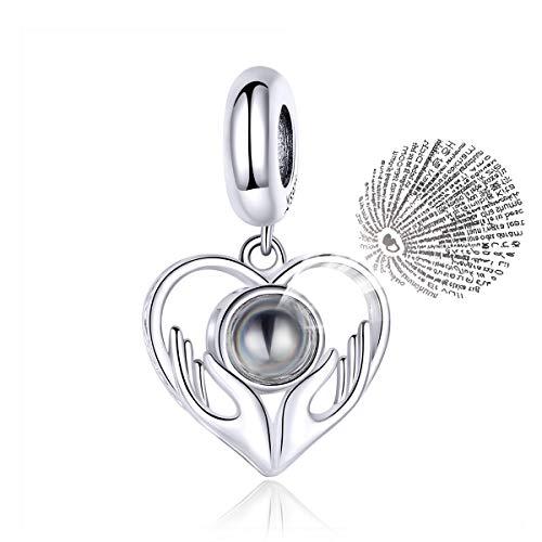 Chengen - Ciondolo in argento Sterling 925 con scritta 'I Love You' in 100 lingue, idea regalo per donne.