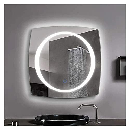 Cuarto de baño Espejo de plata con iluminación de luz LED Sensor táctil inteligente Interruptor de sensor impermeable a prueba de agua HD en forma de especial ( Color : White Light , Size : 50x50cm )