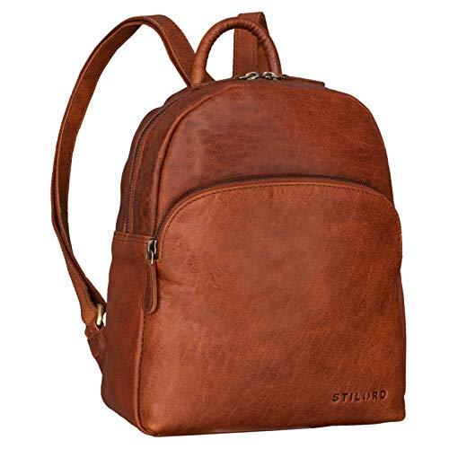 STILORD \'Penelope\' Damen Leder Rucksack Kleiner Lederrucksack Vintage Daypack Cityrucksack für Ausgehen Shopping Tagesrucksack Echtleder, Farbe:maraska - braun