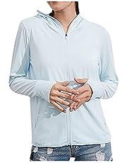 Dames Upf 50+ Sun Shirt Ice Silk Uv-bescherming Hoodie Workout Jacket met Mask Duim Gaten