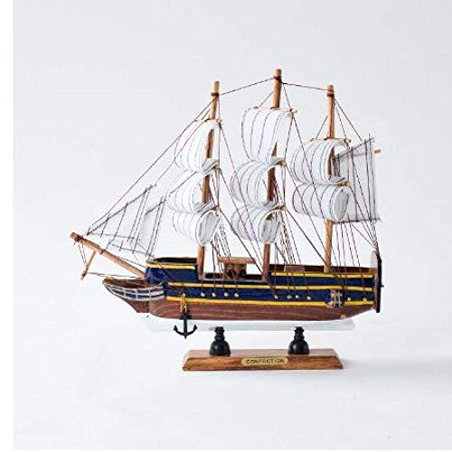 1yess Wohnzimmer Dekorationen Segelboot Modell Holz Handwerk Kreative Handwerk Dekoration mediterran Segeln Handgemachte Segelboot Segeln Holzboot Manuelle Handwerk 24cm 8bayfa
