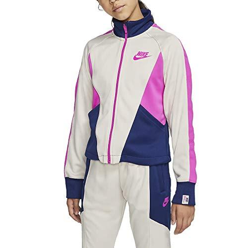 Nike Mädchen NSW Heritage Full Zip Jacke, Lt Orewood BRN/Blue Void/Fire, L