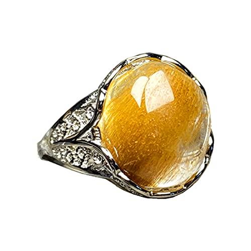 Anillo de cuarzo rutilado de oro natural, anillo de cristal rutilado para mujeres y hombres, cuentas ovaladas, riqueza suerte, plata ajustable, joyería AAAAA 14 x 12 mm