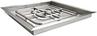 Onlyfire Square Stainless Steel Drop-in Fire Pit Burner Ring and Pan Assembly, 18-Inch