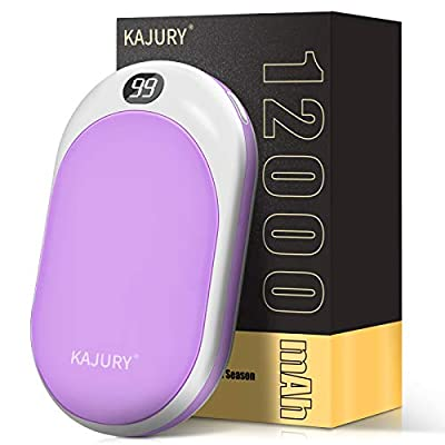KAJURY 12000mAh Rechargeable Hand Warmers with LED Display,Portable Electric Hand Warmer,Power Bank,16hrs Long-Lasting Heating,Perfect Winter Gift for Skiing, Outdoors,Football (Purple)
