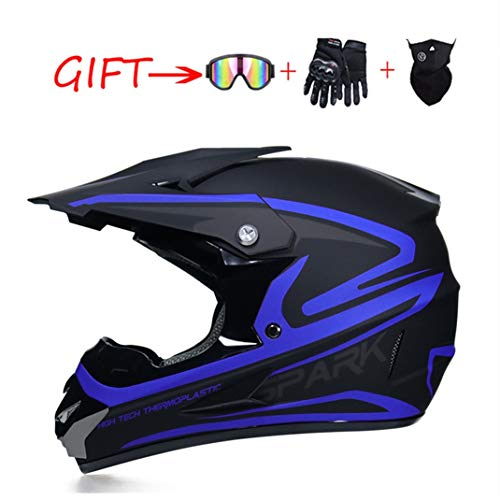 Motocross Helm ATV Motorrad-Sturzhelm SUV Maske + Goggles + Handschuhe, helle Streifen Dirt Bike Downhill Off-Road Mountainbike Helm 4-teiliges Set Unisex,Blau,XL