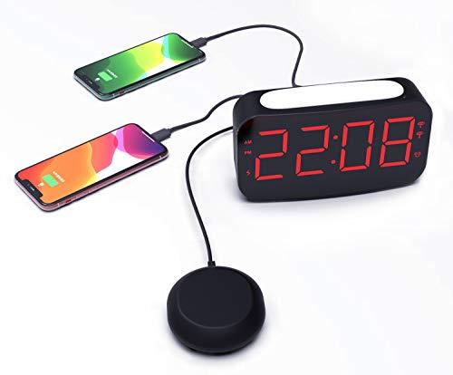 Reloj Alarma,Reloj Despertador Súper Ruidoso para Personas Que Duermen Mucho, Reloj Despertador Digital Vibrante Junto a la Cama con 2 Puertos de Carga USB,Luz de 7 Colores,Escritorio para Dormitorio