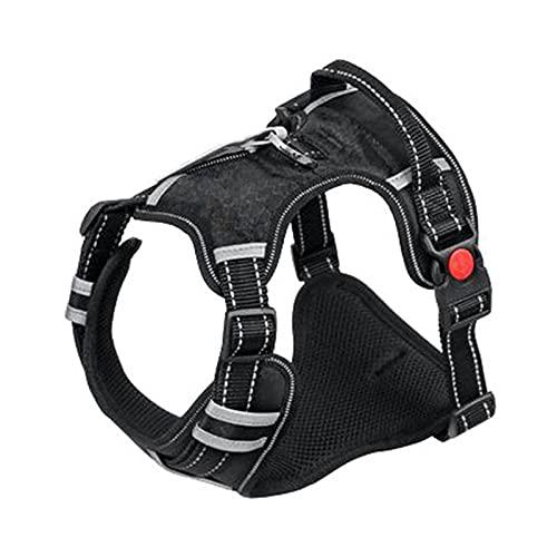 Arnés para perros Harness Breathable No Pull Small Medium Large Dog Vest Adjustbale Matching Leash Collar Reflective Pet Training Supplies Arnés para gatos (Color : BLACK, Size : S (Chest 40-70cm))